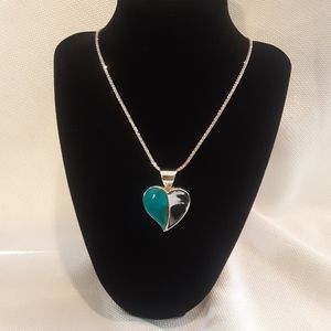 Jay King DTR Turquoise and Silver Heart Necklace
